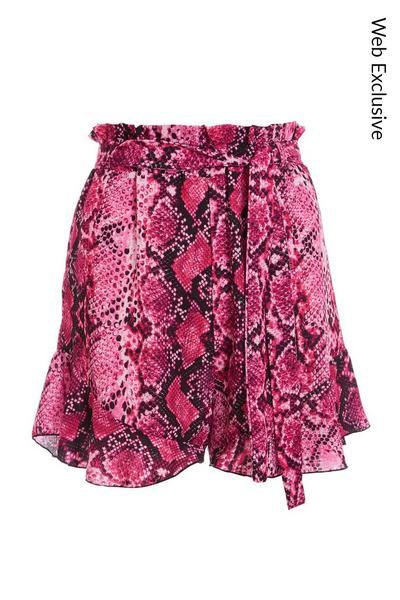 Cerise Pink Snake Print Paper Bag Shorts